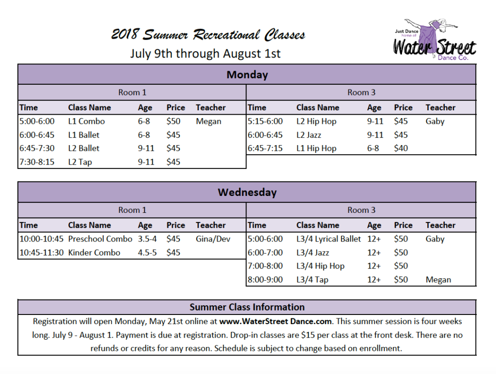 2018 Summer Rec Class Schedule screenshot